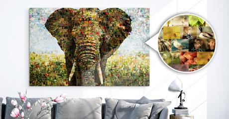 Mosaico plexiglass vista soggiorno_esempio elefante e dettaglio