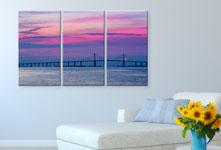 Plexiglass pannelli sopra divano_esempio tramonto rosa