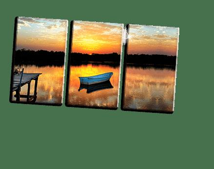 Plexiglass trittico footer_esempio barca al tramonto