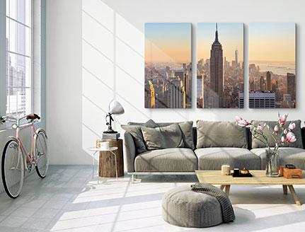 stampa plexiglass multipannello skyline appartemente